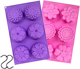 YGEOMER 2 PCS 6 Cavity Assorted Silicone Flower Soap Mold DIY Soap Mold Handmade Chocolate Biscuit Cake Muffine Silicone Mold, with 2 S Hooks as Gift