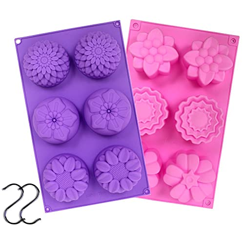 Round /& Square Soap Molds Korlon 2 Pack 6 Cavities Silicone Soap Molds DIY Bar Soap Making Molds Soap Making Supplies for Handmade Mooncake Chocolate Baking Mold Ice Cube Tray