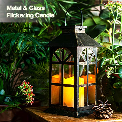 Linterna Solar con Vela LED, Diseño Antiguo Elegante en Metal bronce y Vidrio Templado, Hermosa Lámpara de Mesa o Lámpara Colgante, para Exteriores o Interiores, Materiales Mesistentes a la Intemperie