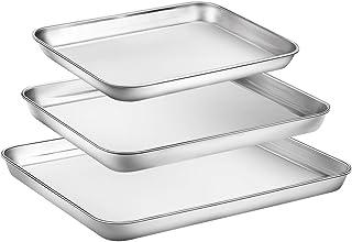 Baking Sheet Set of 3, Zacfton Stainless Steel Cookie Sheet Set 3 Pieces Toaster Oven Tray Pan Rectangle Size Non Toxic & Healthy,Superior Mirror Finish & Easy Clean, Dishwasher Safe (ZacftonO22)