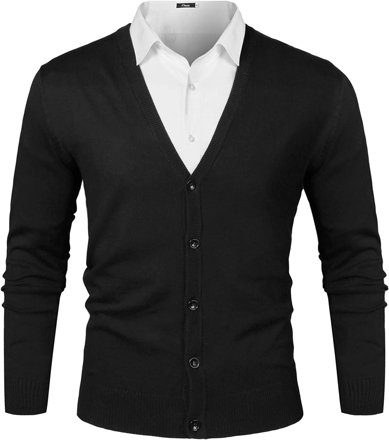 iClosam Mens V-Neck Slim Fit Knitted Button Down Cardigan Sweater with Ribbing Edge