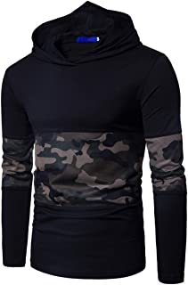 Men's Hoodie Hooded Sweater Long Sleeve Casual Camouflage Patchwork Top Slim Fit Fashion Lightweight Breathable Sweatshirt...
