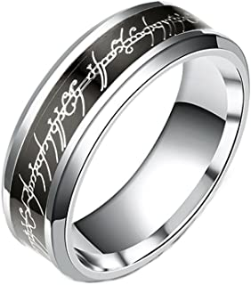 Black and Stainless Steel 8mm Comfort Fit Wedding Band Ring