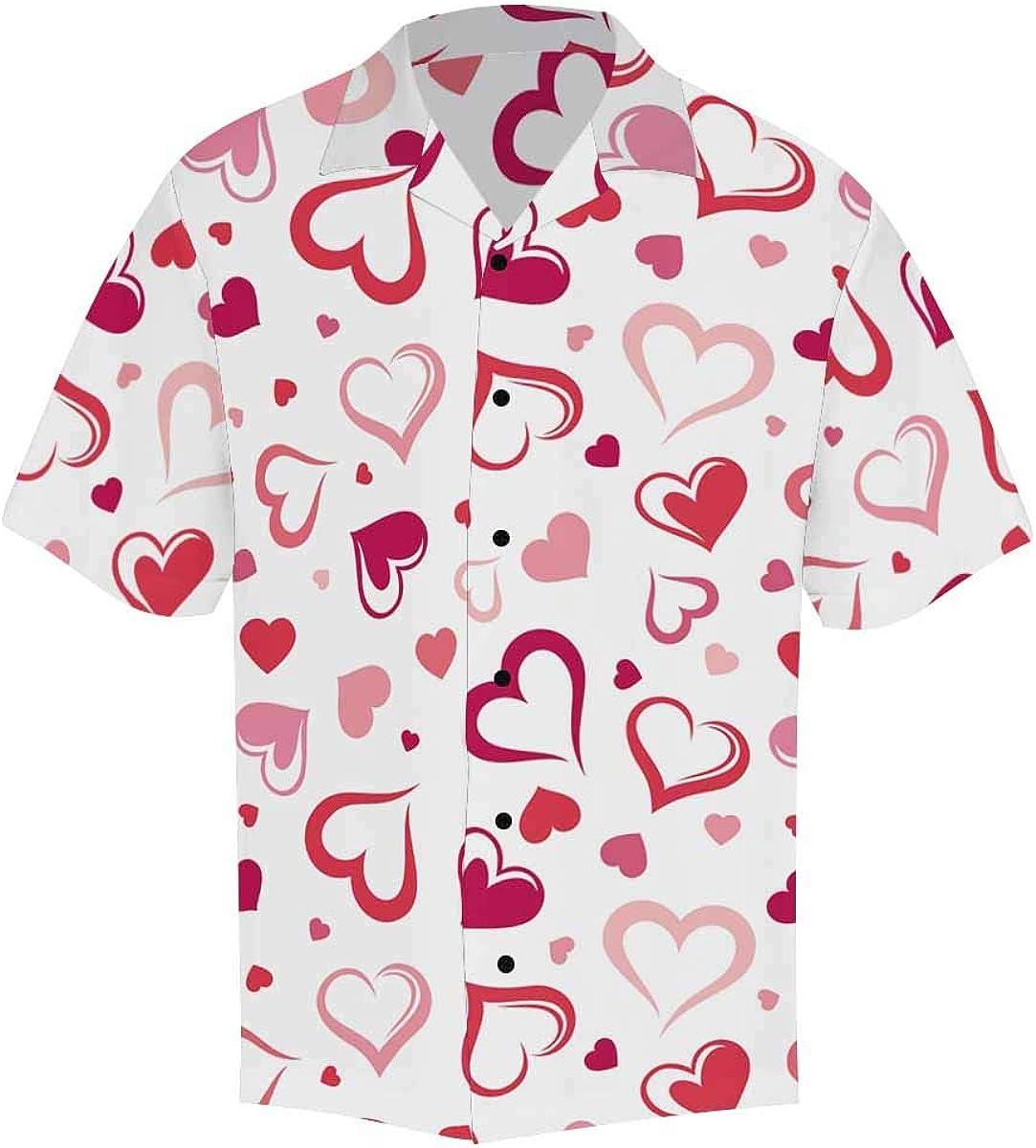 InterestPrint Men's Casual Button Down Short Sleeve Pink Red Heart Hawaiian Shirt (S-5XL)