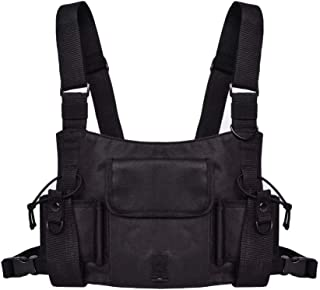 MOLLYGAN Universal Two-Way Radio Case Harness Chest Rig Bag Tactical Hip Hop Streetwear Functional Vest Pocket Front Pack Pouch Holster for Men & Women (XL)