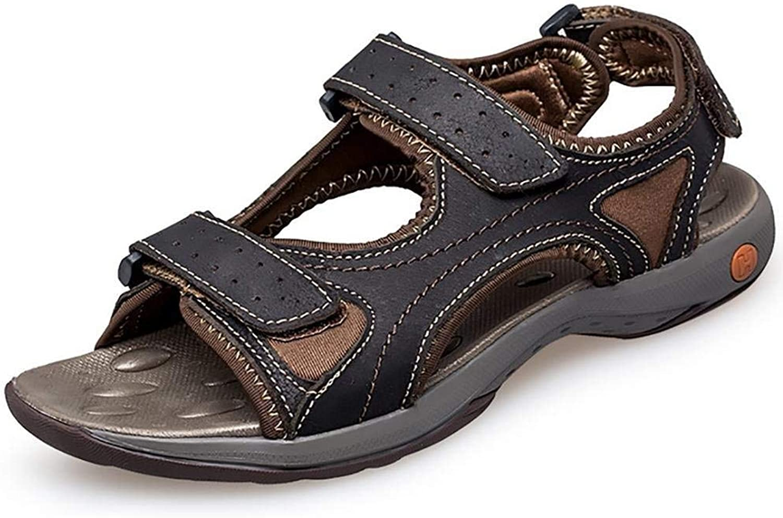 Oudan Unisex Adult Kids Real Leather Sandals Flip Flops in Summer (color   Black, Size   41)