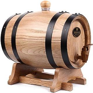 Tonneau de vin, Tonneau en bois en fût de chêne de 5 L pour le stockage ou le vieillissement des vins et spiritueux. (Colo...