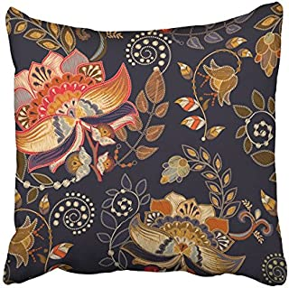 Emvency Throw Pillow Cover Ancient with Flowers and Plants Style Floral Embroidery Effect Nouveau Autumn Print Home Decor Design Square Set Cushion Case 16 x 16 Inch of Bedroom Sofa Pillowcase
