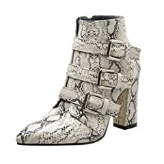 fe912a65b8b5c Womens Belt Buckle Rivet High Thick Heel Boots Ladies Leisure Ankle ...