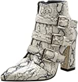 IZHH Ladies Boots Autumn Faux Snakeskin Pattern Boots Pointed Thick Booties Classics Women Party Thick Heel Shoes
