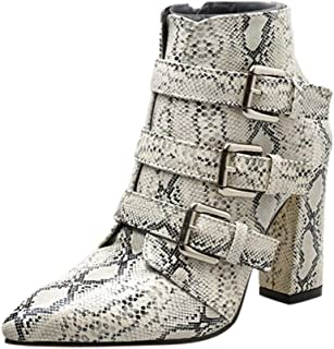 Boots for Women Ankle Booties Snakeskin Pattern Thick Heel Winter Zip Boots