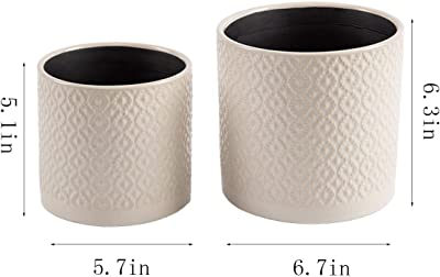 """KYY Ceramic Planters Garden Flower Pots 6.5"""" and 5.5"""" Set of 2 Indoor Outdoor Modern Plant Containers (White Diamond Pattern)"""