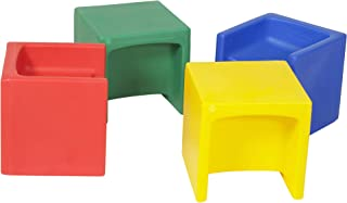 """Children's Factory Cube Chairs, 15"""" by 15"""" by 15"""" (Set of 4) – Bright Primary Colors – Versatile - Use as a Low or High Chair, Table and Adult Seat – Durable and Lightweight – Indoor or Outdoor Use"""