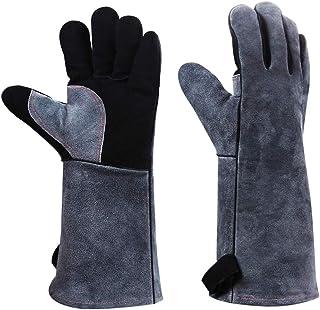 耐熱 グローブ 牛革製 五本指 アウトドア キャンプ BBQ 作業用手袋 腕までしっかりガード (グレー) (ブラック)