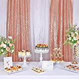 KNGKILQN Rose Gold Sequin Backdrop - Curtains 2 Panels 2.4x8ft Glitter RoseGold Backdrop SequinCurtainsBirthday Party Wedding Christmas Sparkle Background