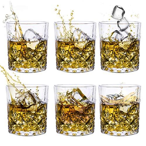 Whiskey Glass Set, Old Fashioned Liquor Vodka Bourbon Lowball Bourbon Cocktail Scotch Tumbler Bar Glasses-7 Oz set of 6