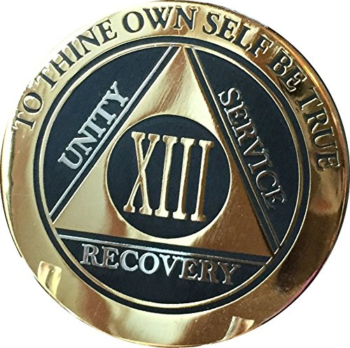 Recoverychip 13 Year AA Medallion Elegant Black Gold Silver Bi-Plated Alcoholics Anonymous Chip
