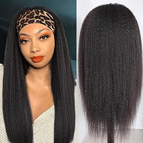 Kinky Straight Headband Wigs Yaki Human Hair Wig for Black Women Full...