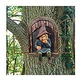 Detrade Gartenzwerg Statue Elf aus der Tür Baum Hugger, Fee Baum Peeker Hugger Garten Ornament Baum Dekoration, Garten Peeker Hof Kunst unvorstellbare Baum Skulptur Garten Dekoration