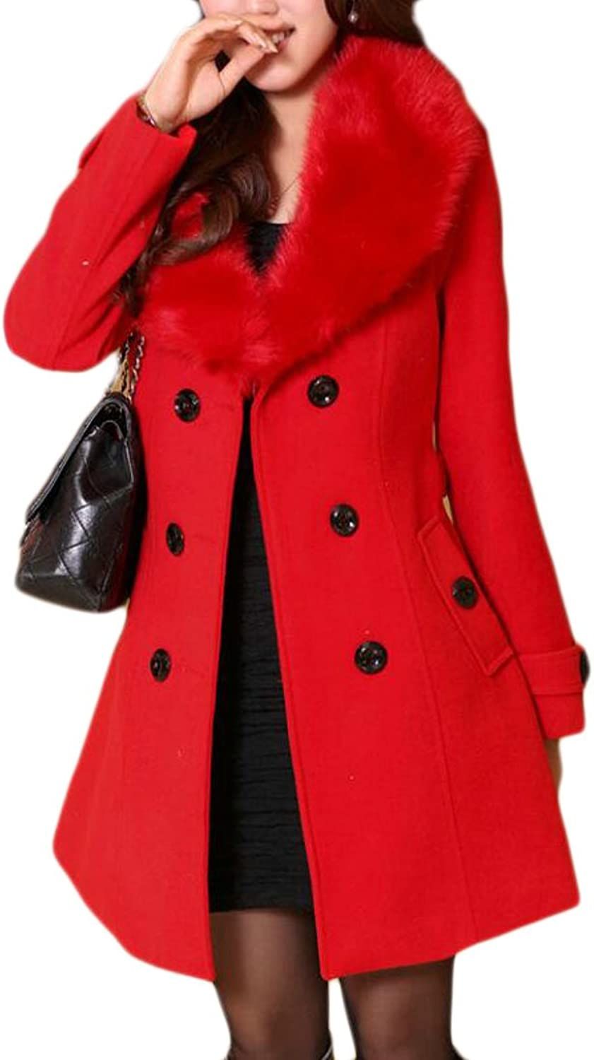 KLJRWomen Double Breasted Faux Fur Collar Winter Thick Long Coat
