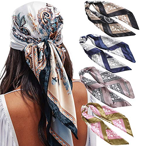 "35"" Satin Large Square Head Scarves - 4PCS Silk Like Neck Scarf Hair Sleeping Wraps Lightweight Satin Silk Scarfs for Women (Cashew-stitching pattern)"