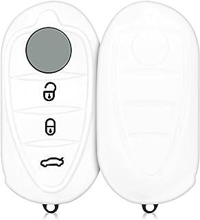 kwmobile Autoschlüssel Hülle kompatibel mit Alfa Romeo 3 Tasten Klapp Autoschlüssel   Silikon Schutzhülle Schlüsselhülle Cover in Weiß
