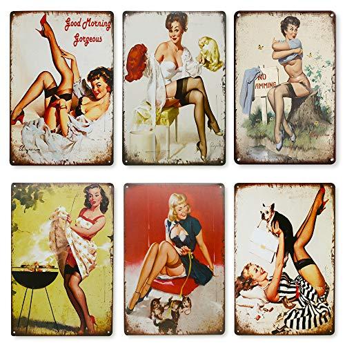 Qumeney Set mit 6 Wandschildern, Vintage, Metall, Sexy Pinup Girl Black Strümpfe, Wanddeko, Wandkunst, für Café, Bar, Pub, Bier, (30 x 20 cm)