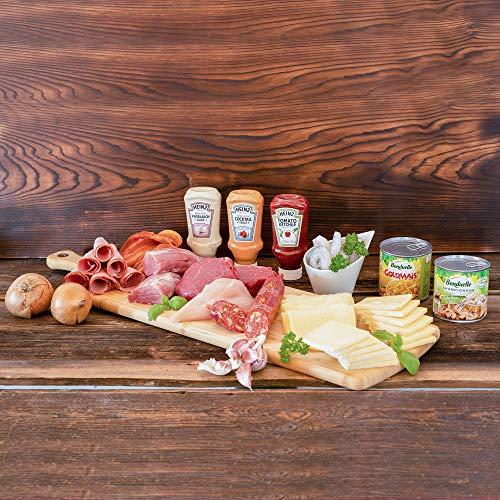 WURSTBARON® Raclette-Set für 5 Personen - Set aus verschiedenen Fleischsorten, Soßen, Käse, Gemüse, Schinken, Garnelen