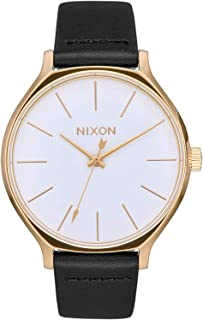 NIXON Clique Leather A1251 - Gold/White/Black - 51M Water Resistant Women's Analog Classic Watch (38mm Watch Face 17mm-15mm Leather Band)