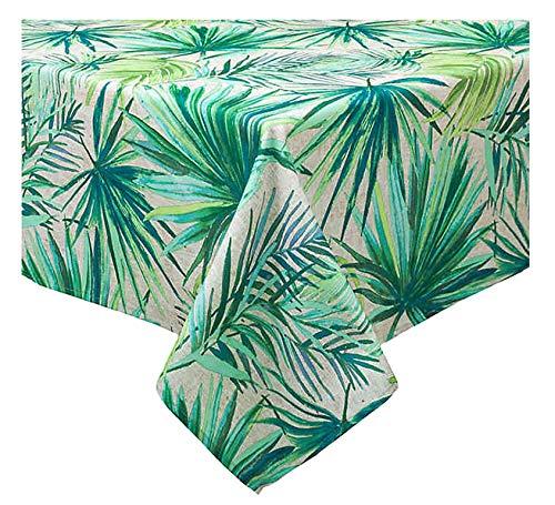 Bardwil Linens Outdoor Umbrella Zippered Tablecloth, Tropical Palm Garden Summer Print Water Repellent, Spillproof Fabric for Patio Garden Tabletop (60 x 120 Rectangle Umbrella)