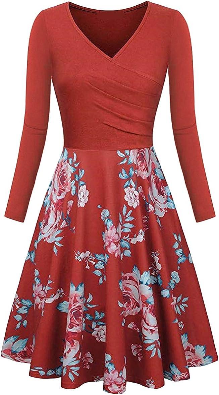 Yming Damen Langarm Partykleider Vintage Knielang Kleider V Ausschnitt Kleider Xs 2xl