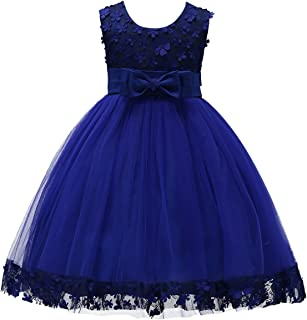 IBTOM CASTLE 2-10T Big Little Girl Ball Gown Short Lace Flower Tulle Dresses for Wedding Party Evening Dance Royal Blue 3T