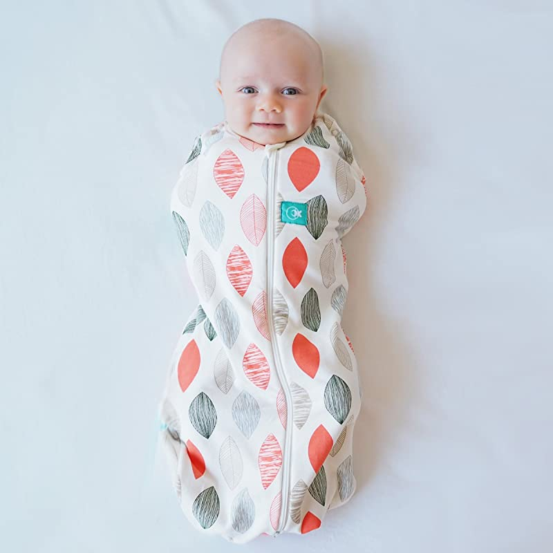 ErgoPouch 0 2 Tog Cocoon Swaddle Bag 2 In 1 Swaddle Transitions Into Arms Free Wearable Blanket Sleeping Bag 2 Way Zipper For Easy Diaper Changes Blush Leaf 0 3 Months