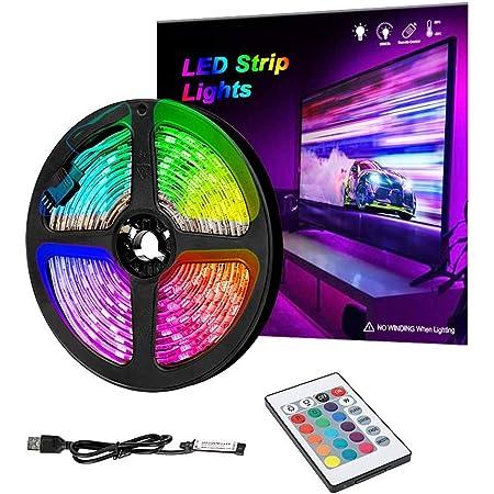 Bande lumineuse LED RVB IP65 avec télécommande - 16 couleurs changeantes 5050 LED pour téléviseur HD - Multicolore pour éclairage d'arrière-plan TV PC