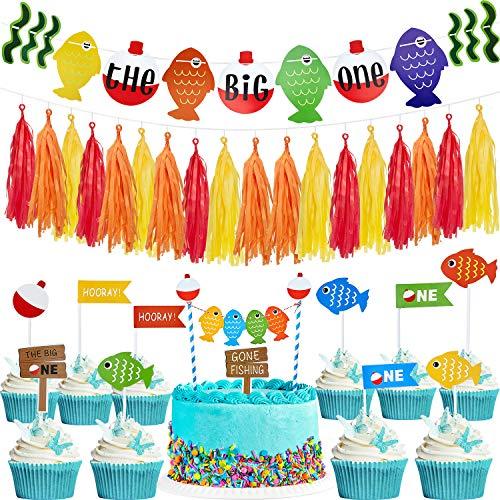 Outus Der Große Fisch Banner Erster Geburtstag Party Banner und Kuchen Topper mit Quaste Girlande und 10 Stücke Fisch Cupcake Picks Angeln Thema Party Bedarf