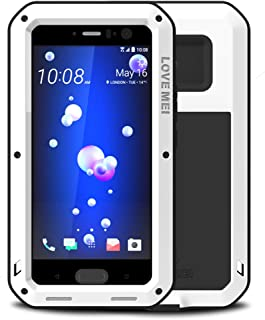 LOVE MEI Waterproof Powerfull Aluminum Case Fit for HTC U11, with Tempered Glass Screen Cover Protector [Two-Years Warranty] White