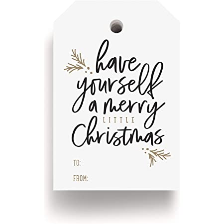 Bliss Collections Merry Little Christmas Tags, Pack of 50, Gold and Black, Holiday 'Tis The Season Events, Parties and Celebrations - Great for Seasonal Favors