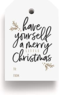 Bliss Collections Merry Little Christmas Tags, Pack of 50, Gold and Black, Holiday 'Tis The Season Events, Parties and Cel...