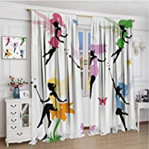 zojihouse Fantasy Cute Pixie Spirit Elf Fairies Flying with Butterflies Girls Princess Flowers Design Decor Customized Curtains Multicolor Print Patterned Drape for Home W72xL63