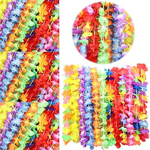 Luau Leis 12 PCS Set | Hawaiian Leis Necklace | Luau Party Decorations | Leis for Luau Theme Party | Lei Flower Necklace | Tropical Hawaiian Party Décor | Weddings, BBQ, Graduation Leis | By Anapoliz