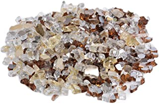 Skyflame 10-Pound Blended Fire Glass for Fire Pit Fireplace Landscaping, 1/2 inch Gold, Platinum Copper, Reflective