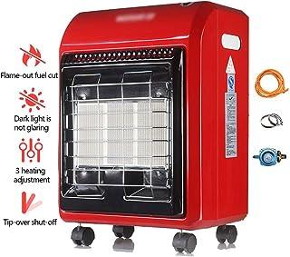 GXFC 4.2 kw Estufa de Gas de Propano (GLP), Ruedas Portátil, Calefactor Infrarroja Seguro, Rojo, 380 x 280 x 560 mm