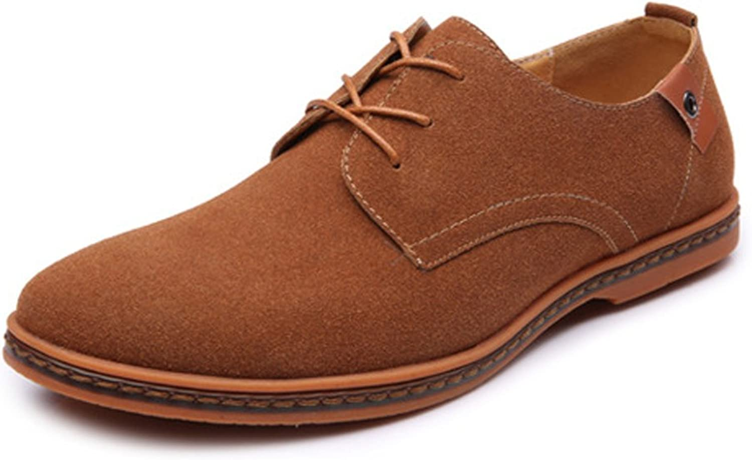 Fashion shoes,Casual shoes Men's fashion casual shoes with casual oxford shoes microfiber suede leather upper large size Personality shoes (color   Brown, Size   10.5 UK)