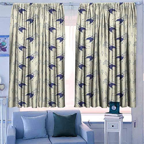 Rod Pocket Gordijnen voor kamer donkere panelen voor woonkamer slaapkamer Winter groene theekopje op vensterbank bos buiten sneeuwstorm Scenic Countryside Apple Green Beige wit
