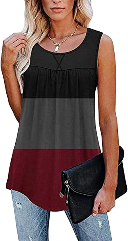 977 Womens Tank Tops Loose Patchwork Sleeveless T Shirts Irregular Hem Ruffle Vest Tunic O-Neck Splicing Blouse