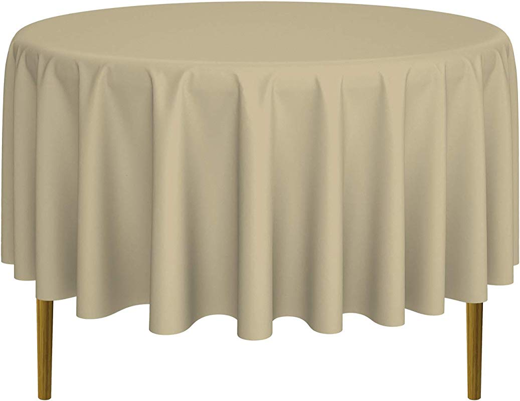 Lann S Linens 90 Round Premium Tablecloth For Wedding Banquet Restaurant Polyester Fabric Table Cloth Beige