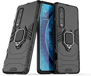 FanTing Case for Oppo Find X2 Pro, Rugged and shockproof,with mobile phone holder, Cover for Oppo Find X2 Pro-Black