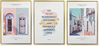 SEVEN WALL ARTS - Picture Print On Canvas Nordic Style Travel Poster Architecture Pictures Paintings Wall Art Ready to Hang Living Room Bedroom Home Decoration PS Frame Golden 20x28 Inchx3pcs