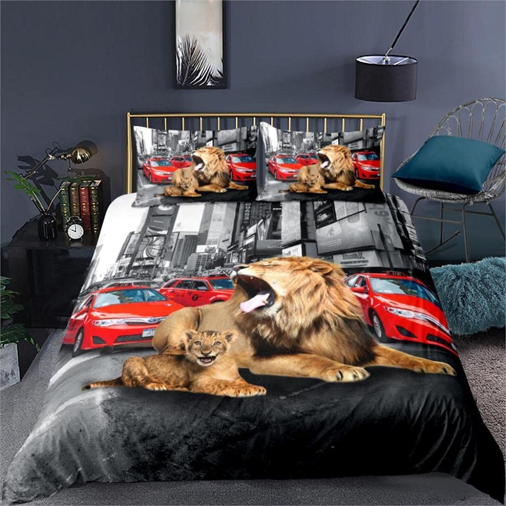 Duvet shopping Covers Lion car Bedding Sets Closur inch with Zipper Selling rankings 78x78