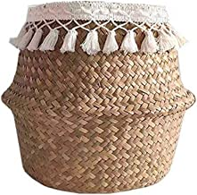 SHYPT Flower Basket Fringed Hand-woven Seagrass Basket Creative Household Items Folding Beautiful Straw Flower Basket